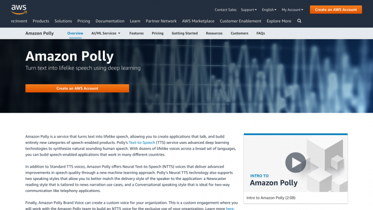 Amazon Polly screenshot